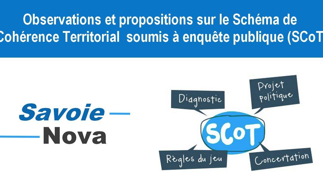 Observations et propositions sur le Schéma de Cohérence Territorial (SCoT) soumis à enquête publique.